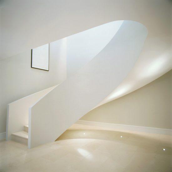 london minimal white staircase